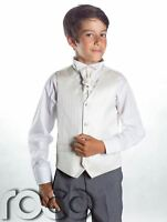 Boys Striped Waistcoat & Cravat Suit Set With Grey Trousers, Page Boy Suits
