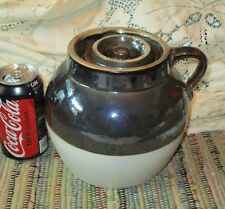 Antique MANGANESE GLAZED STONEWARE BEAN POT Crock Cobalt 2 mark w Lid SIGNED