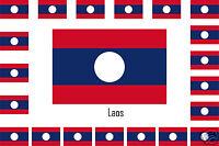 Assortiment lot de 25 autocollants Vinyle stickers drapeau Laos