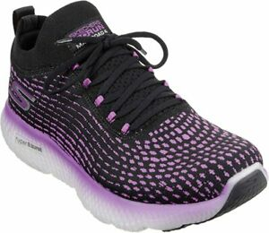 Skechers Women's Max Road 4 Running Shoe, Black/Purple, 9 B(M) US