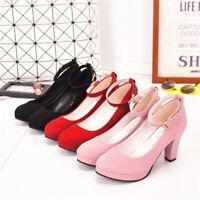 Womens Ankle Strap Wedding Court Shoes Ladies Block High Heels Dance Pumps Party