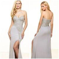 Terani P3133  Decadent Diamonds Fishtail Gown in Seafoam nude beaded msrp$588