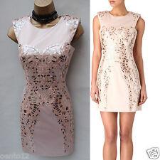 KAREN MILLEN DQ190 Cream Metallic Sequin Embellished Cocktail Mini Dress 12 UK