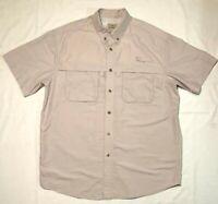 LL Bean Mens Vented Nylon Fishing Hiking Shirt Size Large Beige Tan Short Sleeve
