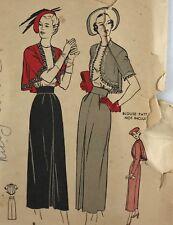 1940s Butterick Vintage Sewing Pattern 4601 Skirt and Swing Back Bolero Jacket