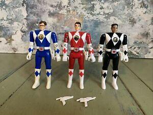 Power Rangers FLIP HEAD RED BLUE BLACK RANGER  Figures LOT (3)