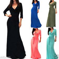 Women Sexy 3/4 Sleeve Wrap Waist Dresses Evening Party Beach Long Maxi Dress
