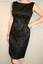 S~M Floral Damask Vtg 60s Fitted Sheath Lbd Little Black Cocktail Party Dress