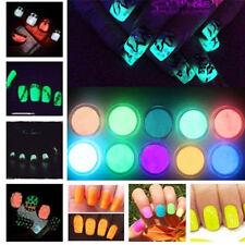 Neon Colors 10 Boxes Phosphorescent FLUORESCENT Powder Glow In Dark Nail Art