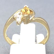 "STUNNING 9CT YELLOW GOLD *CITRINE & CUBIC ZIRCON* FLOWER RING  SIZE ""N""  1463"