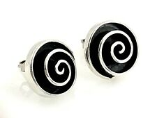 Vintage Sheri Liebert Abstract Swirl Sterling Silver Petite Round Post Earrings
