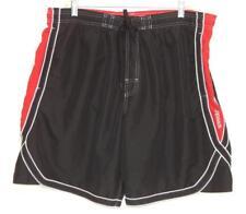 SPEEDO Men's Black Red Polyester Swim Trunks Shorts Size Large
