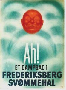 Original vintage poster FREDERIKSBERG STEAM BATHS 1936