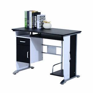 Office Computer Desk Study Wooden Table Keyboard Tray Drawer Shelf PC Rack Black