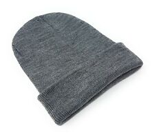 Beanie Hat Wholesale Slouch Mens Ladies Warm Winter Woolly Turn up Neon Unisex Light Grey 10