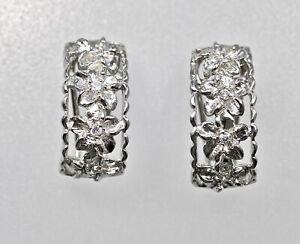 925 Sterling Silver Hawaiian Plumeria CZ French Clip Earrings Floral Rhodium Gem