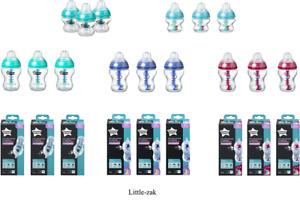 Tommee Tippee 3x  Advanced Anti Colic 150ML / 260ML/ 340ml Bottles W MINI BRRUSH