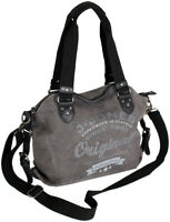 Vintage Handtasche Schultertasche Damen Retro Umhängetasche aus Canvas mit Leder