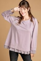 NWT Large Women's Lavender Lace Long Sleeve Top Boutique Blouse