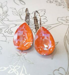 Crystal earrings leverback Earrings Genuine Swarovski Orange Glow DeLite