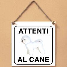 Bichon à poil frisé 2 Attenti al cane Targa piastrella cartello ceramic tile