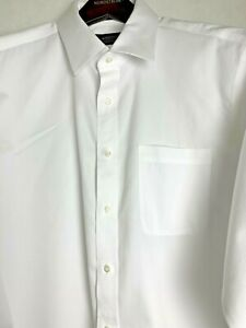 Nordstrom Men's Rib White Easy Care 16 36 Trad Fit White Dress Shirt EUC 5145
