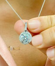 14k White Gold Round Forever One Moissanite And Natural Diamond Pendent 1.75ctw