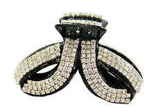Large Twist Fancy Good Quality Rhinestones Claw Clip Jaw Clips-Black