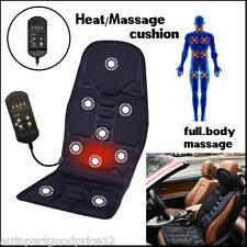 Black Back Massage Chair Car SUV Heat Seat /Cushion Neck Pain Lumbar Support Pad