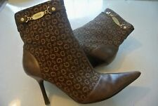 Guess Boone Brown Canvas Logo Monogram Ankle Boots Booties Heels Shoes Size 9.5