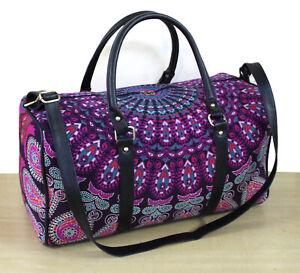Indian Pink Mandala Duffle Bag Travel Bags Sports Gym Bag Unisex Cotton Handbag