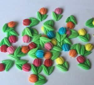 24 TULIPS SPRING FLOWERS EDIBLE ICING SUGARPASTE CAKE TOPPERS