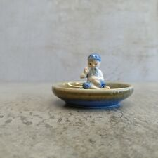 Vintage Wade Porcelain Lucky Leprechaun Tailor Blue Hat Small Ring Dish Ireland