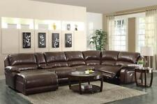 BIG & COMFY BROWN LEATHER DOUBLE 2 RECLINER RECLINING SOFA CHAISE SECTIONAL SALE