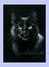Black Cat Print Deeply Black by Irina Garmashova