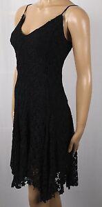 Ralph Lauren Knee Length Spaghetti Strap Black Floral Lace Ruffle Dress NWT $398