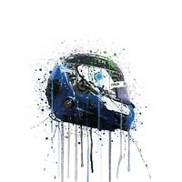 Bottas Helmet F1 Formula 1 Water Colour Splatter Drip Wall Art Print Picture
