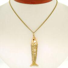 VINTAGE 18ct Oro Amarillo Con Textura flexible de Pescado Colgante Granate OJOS