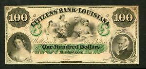 US  18XX  $100  THE CITIZENS BANK OF LOUISIANA NEW ORLEANS OBSOLETE AU-UNC.