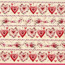 """2 Decoupage Paper Napkins Serviette Valentine's Day Vintage Hearts  13x13"""" 2pcs"""