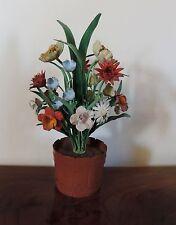 Vintage Paint Decorated Italian Tole Floral Topiary Planter Barrel Centerpiece