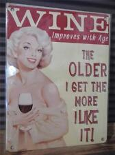 FABULOUS VINTAGE RETRO STYLE METAL WALL SIGN PLAQUE *WINE IMPROVES WITH AGE*