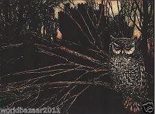 Arthur RACKHAM Estampado Búho Árbol De Halloween Bruja Brujería Magia medianoche Pájaro