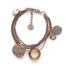 "Bracelet Copper Chain Multi Strand 7-8"" Wholesale Steampunk Shell Leather Cord"