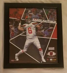 """Baker Mayfield Authentic Framed 15""""x17"""" Collage &Game Used Football Relic 75/500"""