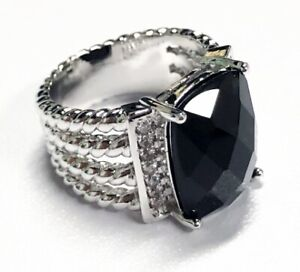 Surprise specials!David Yurman Black Agate Ring, 925 Silver, Cable, Hollow