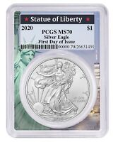2020 1oz Silver Eagle PCGS MS70 First Day Issue - Statue Of Liberty Frame