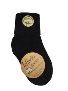 JEFFERIES Seamless Organic Cotton Turn Cuff Ankle Socks Sizes Infant to Adult