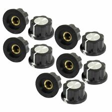 10Pcs Black Silver Tone 27*16mm Rotary Knobs for 6mm Dia. Shaft Potentiometer