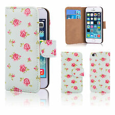 32nd Floral Series - PU Leather Book Wallet Case Cover for Apple iPhone 7 & 8 I7.booklthf-vrmint Vintage Rose MINT